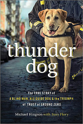 'Thunder Dog' by Michael Hingson Michael Hingson recalls the chilling account of how he worked in tandem with his dog to safely descend 78 floors and 1,463 steps in the World Trade Center, while simultaneously helping others remain calm. The memoir is a story of a four-legged superhero named Roselle, who led her owner out of the ruins. Description from Kirkus Reviews .