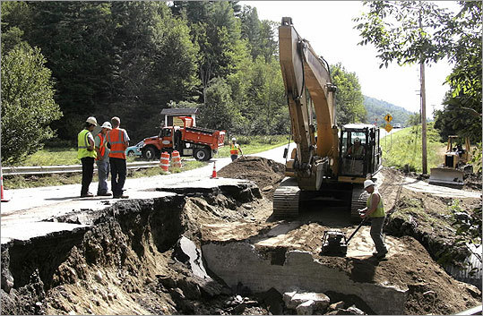 Vermont Transportation Agency workers repaired a section of Route 100 in Waitsfield.