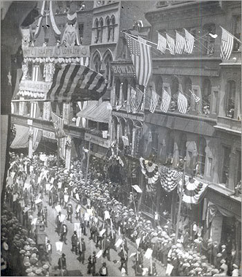 March 7, 1904 A parade passed down Newspaper Row.