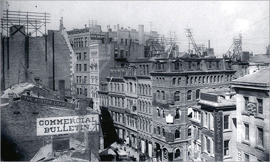 March 26, 1888 View of Newspaper Row from the roof of 299 Washington St.