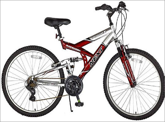 "Bridgeway recalls bicycles due to fall hazard Date: September 23, 2011 Units: About 91,000 Models of ""NEXT""-branded bicylces sold at Walmart for about $100 are being recalled because the bicycle chain can break and cause the rider to lose control and fall. There have been 11 incident reports and all but two of them resulted in injury, including lacerations and contusions."