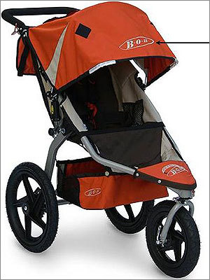 Jogging strollers recalled by BOB Trailers because of choking hazard Date: Oct. 11, 2011 Units: About 411,700 in the US and 27,000 in Canada Part of the stroller's can detach, posing a choking hazard. There have been six reports of children mouthing the detached patch. Gagging and choking were reported in two incidents. There have been no injuries.