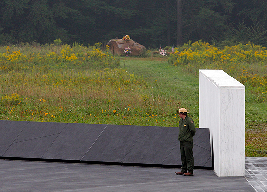 A National Park ranger stood near a section of phase I of the permanent Flight 93 National Memorial near the Flight 93 crash site.
