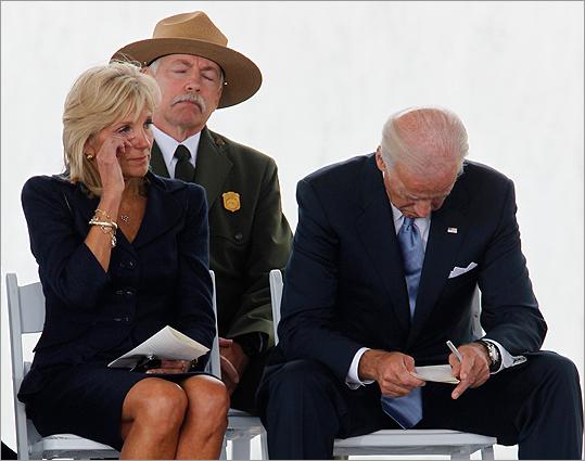 Jill Biden wiped a tear away as her husband, Vice President Joe Biden, bowed his head during the ceremonies.