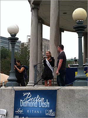 The 2011 Miss Massachusetts Molly Whalen was on hand at the Bandstand in the Boston Commons to wish the hopeful couples good luck.