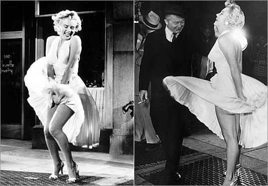Marilyn Monroe's white halter dress created by costume designer William Travilla featured 'The Seven-Year Itch' sold for more than $5.6 million in an auction earlier this year according to CNN . The little white frock with a plunging neckline and full accordion-pleat skirt is otherwise known as the 'subway' dress for Monroe's memorable scene (and subsequent stills) standing over a subway grate while her dress billows around her.