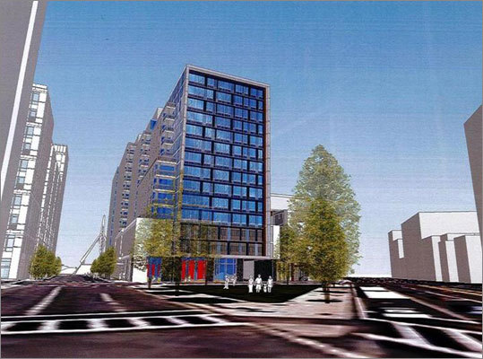 Bulfinch Triangle The Boston Redevelopment Authority , gave the go-ahead to the developers of the proposed Merano building planned for the intersection of Beverly and Causeway streets in February. The building would house 230 residential apartments and a 210-room hotel with restaurant and retail space on the ground floor. Construction is expected to begin in late 2012. The construction will be contained in a pair of adjoined 14-story buildings. Residents will have access to a pool and fitness center to be built in the Courtyard Marriott. The second and third levels of the complex will contain 184 parking spaces.