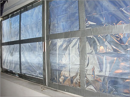 Plastic and duct tape covered the windows of Bulger's bedroom in the Santa Monica apartment.