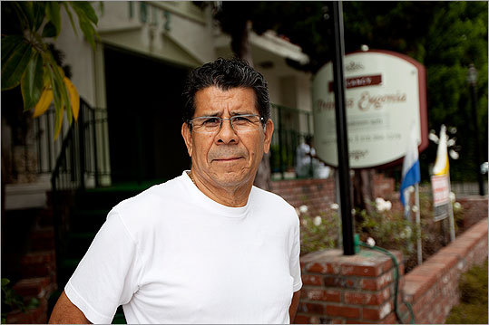 Building superintendent Enrique Sanchez outside of Bulger's former apartment building in Santa Monica.