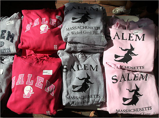 Sweatshirts were displayed bearing the Salem town mascot.