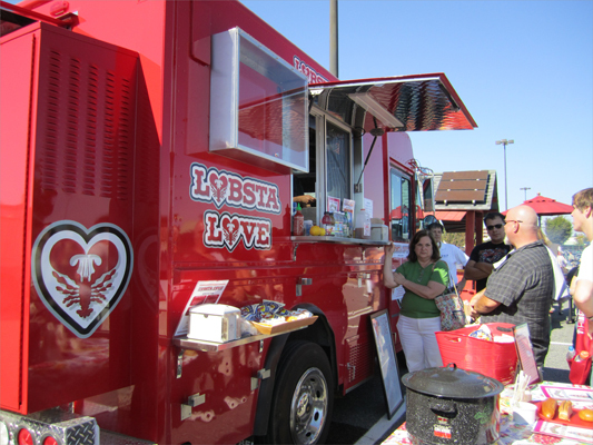 Customers placed an order for a lobster-themed lunch at the Lobsta Love truck.