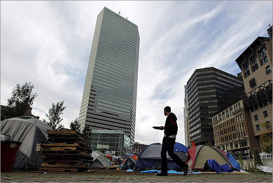 A man walked through the Occupy Boston encampment.