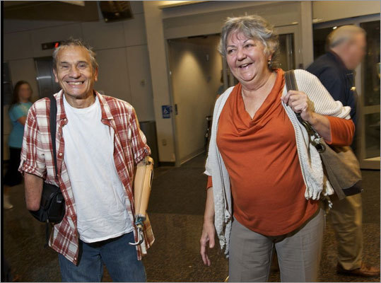 Richard Mangino, 65, of Revere, who lost his lower arms and legs to a bloodstream infection in 2002, underwent a 12-hour transplant operation at Brigham and Women's Hospital last week. Mangino and his wife, Carole, arrived last week at Brigham and Women's Hospital in Boston for the surgery.
