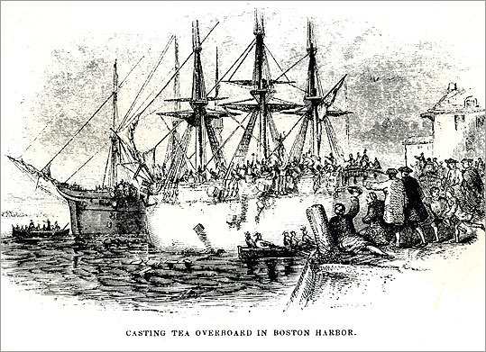 The Boston Tea Party is Boston's most famous -- and arguably the nation's signature -- demonstration. With Occupy Boston again stirring civil disobedience, we look back at other mass protests in the city. At left, 'Casting tea overboard in Boston Harbor' from Harper's New Monthly Magazine, December 1851.