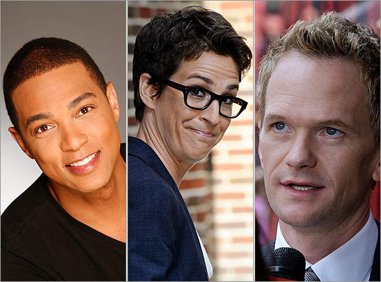 From left: CNN anchor Don Lemon (Reggie Anderson), MSNBC host Rachel Maddow (Charles Sykes/SYKEC, via Associated Press), and 'How I Met Your Mother' star Neil Patrick Harris (AP Photo/Reed Saxon)