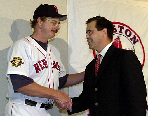 But Duquette faced fan scrutiny for failing to re-sign stars Mo Vaughn, and Roger Clemens, the latter of which Duquette famously said was in the 'twilight of his career.' Duquette also traded pitcher Jamie Moyer to Seattle for Darren Bragg. Moyer went on to win 139 games for the Mariners. The general manager was also questioned for his promoting of pitching coach Joe Kerrigan to manager after firing Jimy Williams.