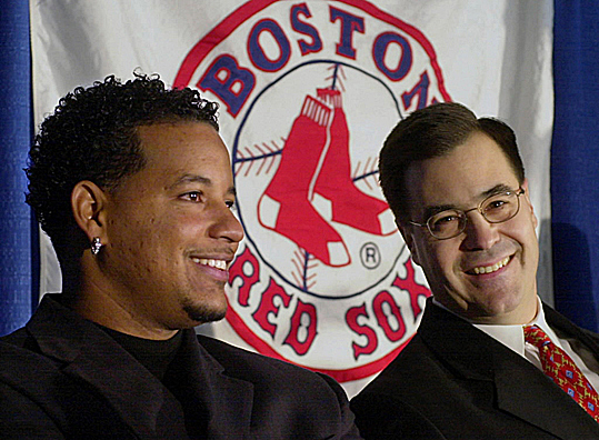 Dan Duquette Years: 1994-2002 Dan Duquette left the Montreal Expos to become the general manager of the Red Sox in 2002, replacing Lou Gorman. Duquette's tenure included drafting or signing such players as Nomar Garciaparra, Kevin Youkilis, and Hanley Ramirez. Notable acquistions by Duquette included Pedro Martinez, Johnny Damon, Manny Ramirez (pictured here), and Tim Wakefield. Duquette was also responsible for trading Heathcliff Slocumb for Derek Lowe and Jason Varitek.