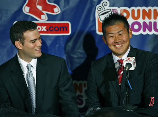 But Theo Epstein's tenure as general manager of the Red Sox was not without controversy. On Halloween 2005 Epstein resigned from the team and reportedly left Fenway Park in a gorilla suit to avoid reporters. Three months later he returned to the team as general manager with the additional title of executive vice president. Epstein's questionable acquisitions included: Edgar Renteria, J.D. Drew, Julio Lugo, Daisuke Matsuzaka (pictured here), and John Lackey.