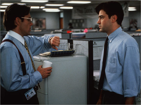 "Office Space (1999) Starring Ron Livingston, Jennifer Aniston, and David Herman 'It's a very short line from ""The Apartment"" to ""Office Space' in terms of cubicle farms,' Burr said. 'In terms of sensibility, too, about what it is about going to work,' Morris added. The duo said it's the soul sucking reality, the depressing truth of working at a large firm, which is that you are smarter than your boss. Your boss doesn't even understand what it is you do. You yourself are trapped in something you don't really quite understand."