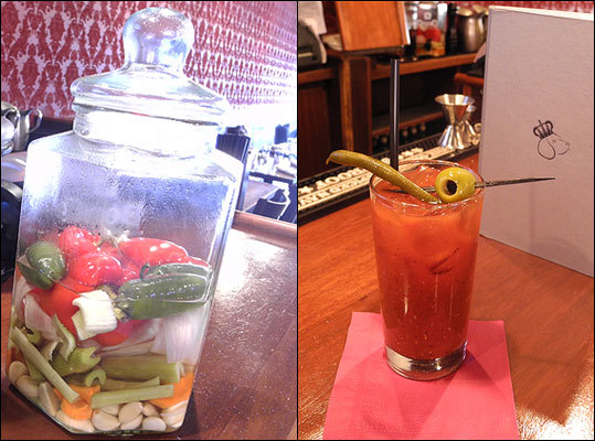 The Regal Beagle The drink: The Veggie Mary, made with vegetable-infused vodka. The details: Because of the vegetables, it's more sweet than bitter, and packs a tangy garlicky and bell pepper flavor from the two or three cloves and peppers, among other veggies, that the vodka stews in. The Caliente Mary with chipotle pepper-infused tequila is also not to be missed. Pair it with: Duck and Waffles ($14) $8, The Regal Beagle 308 Harvard Street, Brookline, 617-739-5151.