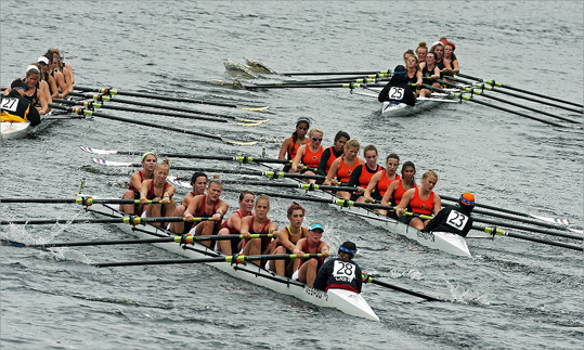 Competitors in the Youth Women's Eights were closely bunched as they headed for the finish line. The final day of competition in the 2011 Head of the Charles Regatta was Sunday.