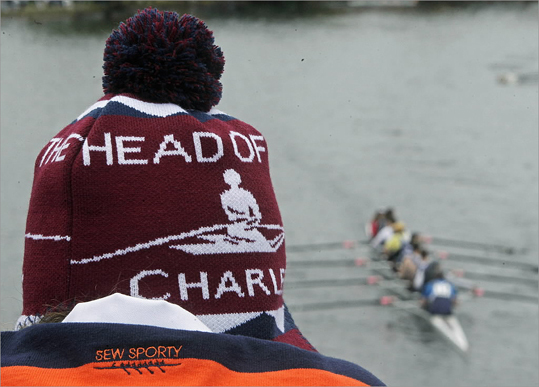 A spectator wore an appropriate hat as she watched the action from the Eliot Bridge.
