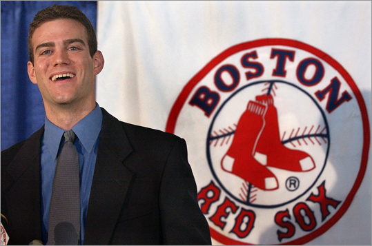 In this 2002 photo, 28-year-old Theo Epstein is introduced as the new general manager of the Boston Red Sox.