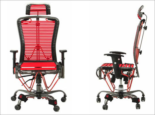 Gymygym Chair Gymygym is an ergonomic office chair that allows you to work out with elastic resistance straps while you sit. Price: $599.