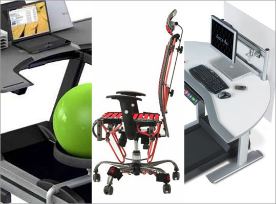 Novel new office chair designs and workstations are aiming to tone your triceps, increase your cardiovascular endurance, and strengthen your core, without you ever leaving the desk.