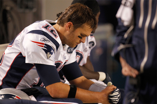 Tom Brady sat on the bench toward the end of the game against the Pittsburgh Steelers at Heinz Field.