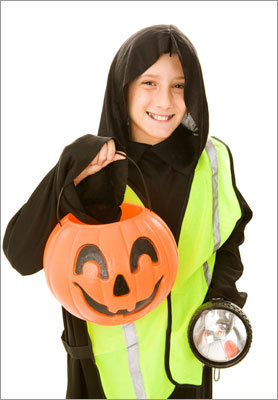 Stay visible Use reflective tape. It helps others see trick-or-treaters sooner, rather than later.