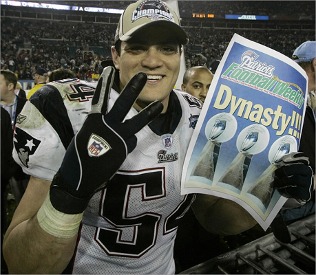 Tedy Bruschi Years: 1996-2008 Stats: Bruschi spent his entire career with the Patriots, making 680 tackles, 30.5 sacks, 12 interceptions. He also won three Super Bowls. Extras: Bruschi was a fan favorite who once played saxophone with the Boston Pops. He suffered a career-threatening stroke in 2005, but recovered and was able to return to football. His gritty efforts as the backbone of coach Bill Belichick's Super Bowl-winning defenses earned him admiration and respect that continues to present day. He is now a football analyst for ESPN.