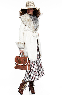 White shearling walking coat