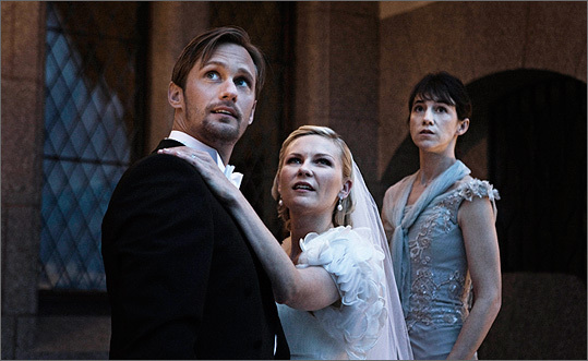 "Alexander Skarsgard and Kirsten Dunst play the marrying couple in ""Melancholia,'' with Charlotte Gainsbourg."