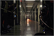 A light at the end of a long corridor at MIT