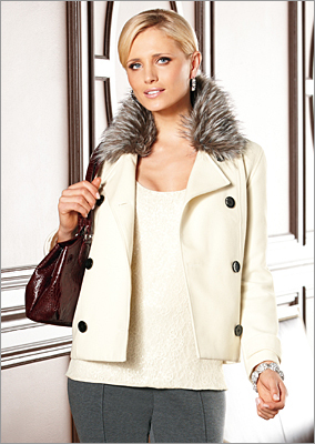 This faux fur trimmed pea coat's hemline hits right above the hip for a trendier silhouette. Faux-Fur Peacoat by Dana Buchman, Kohls.com and in stores, $130.
