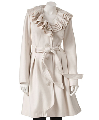 An over-the-top collar mellowed out in a perfect oyster white. Ruffled wool coat by Candie's, Kohl's store locations and Kohls.com , $108.