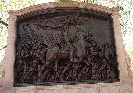 Robert Gould Shaw and 54th Regiment Memorial Location: Across Beacon Street from the State House After President Lincoln allowed black soldiers to enlist to fight in the Civil War, the 54th Regiment became the first black unit to be recruited in the North. The regiment was commanded by Robert Gould Shaw, a white man from a prominent family. Sergeant William Carney became the first black recipient of the Congressional Medal of Honor for valiantly saving the American flag from Confederate hands eve