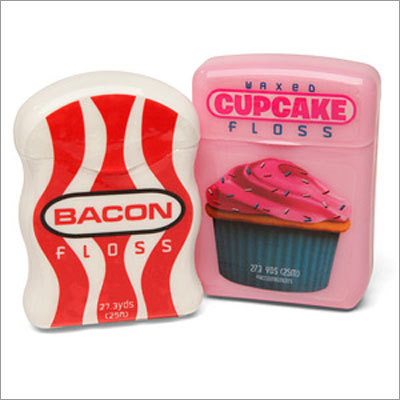 Bacon and cupcake dental floss Price: $ 3.99 Having good dental health doesn't have to be boring with bacon and cupcake flavored dental floss.