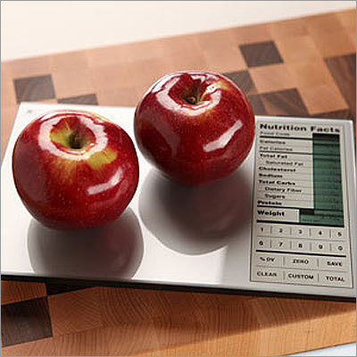 Perfect portions nutrition scale Price: $49.99 For the diet-conscious, this scale not only weighs food, but also displays all the nutritional information such as carbs, calories, salt, and more for the item.