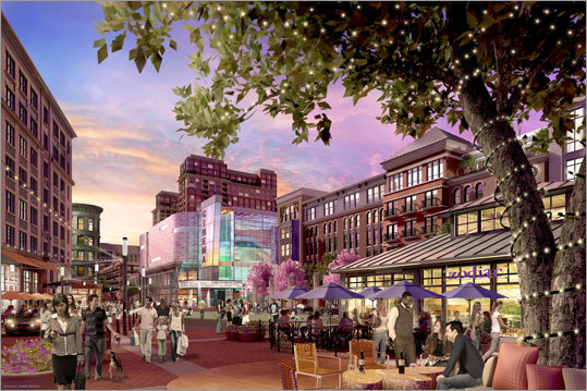 Assembly Row Federal Realty Investment Trust expects to open as many as 50 outlet stores at the $1.5 billion complex, which is designed to be a mixed-use neighborhood with offices, stores, hundreds of homes, a new MBTA station, and a refurbished park. Assembly Row officially broke ground in May . Construction of roads and other infrastructure at the 45-acre site has also begun. The company expects to start on the first buildings in early 2013, and signed on three restaurants in September that will be part of the complex.