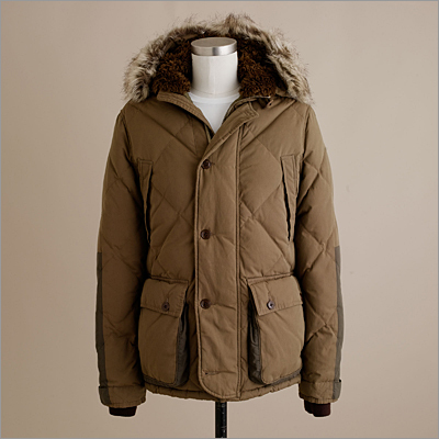 Extra puff and fluff for manliness and warmth. Wallace & Barnes Sawtooth jacket, JCrew.com , $368.