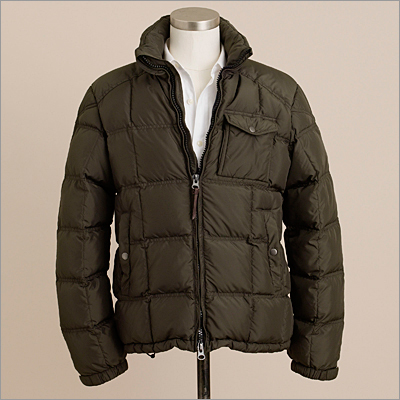 Just your basic down jacket, upgraded with plenty of pockets inside and out. Alpine goosedown puffer in dark fatigue, JCrew.com and in stores, $168.