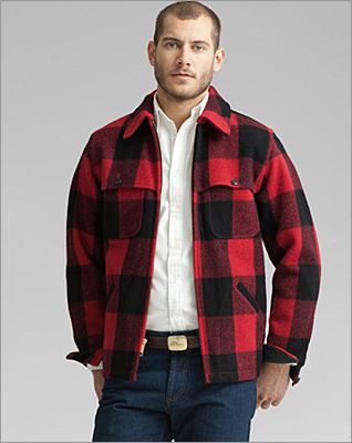 A buffalo plaid classic that originally debuted at L.L. Bean in 1965. Bean's stag jacket in colonial red, LLBean.com , $225.