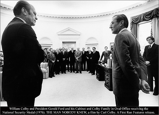 "William Colby (right), the subject of ""The Man Nobody Knew,'' with President Ford in 1976."
