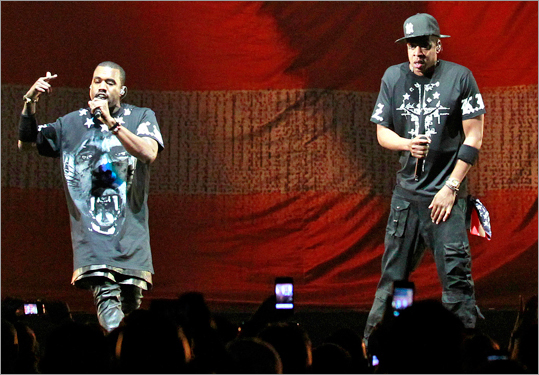 Kanye West (left) And Jay Z Perform In Concert During The U0027Watch
