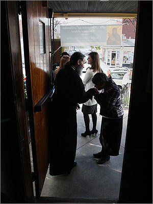 Father Patrick of the Holy Resurrection Orthodox Church mingled with patrons after services on Harvard Avenue in Allston.