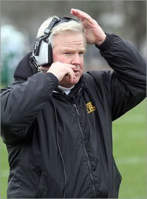 Nauset head football coach Keith Kenyon in the first half of the Nauset- Dennis Yarmouth Regional High School game at Dennis-Yarmouth Regional High School.