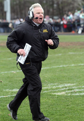 Nauset head football coach Keith Kenyon contested a referee's call in the first half of the Nauset-Dennis Yarmouth Regional High School game.