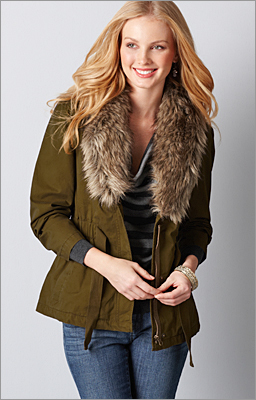 LOFT Fur-collar jacket